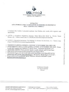 Estratto asta pubblica - Azienda USL Umbria 2